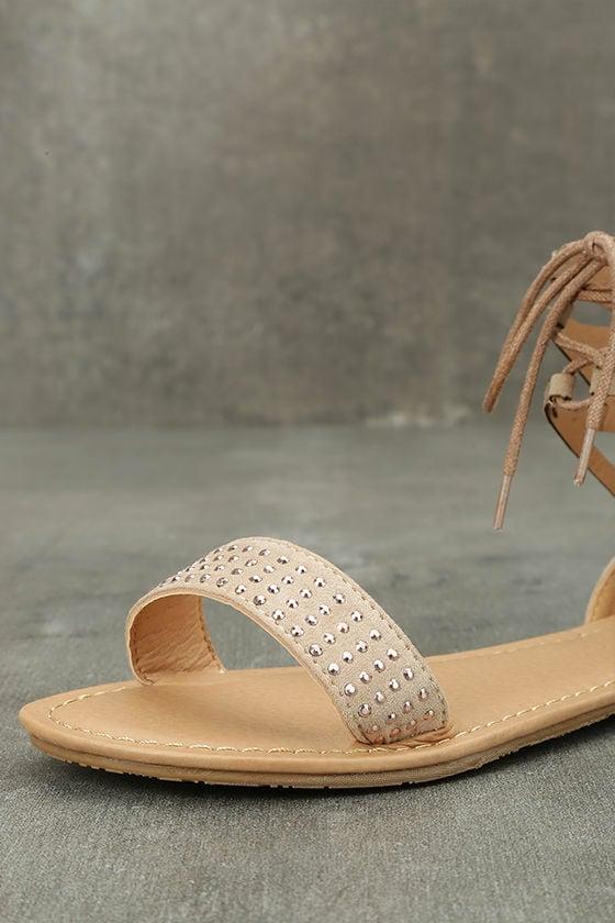 Clarinda Natural Rhinestone Lace-Up Sandals 6