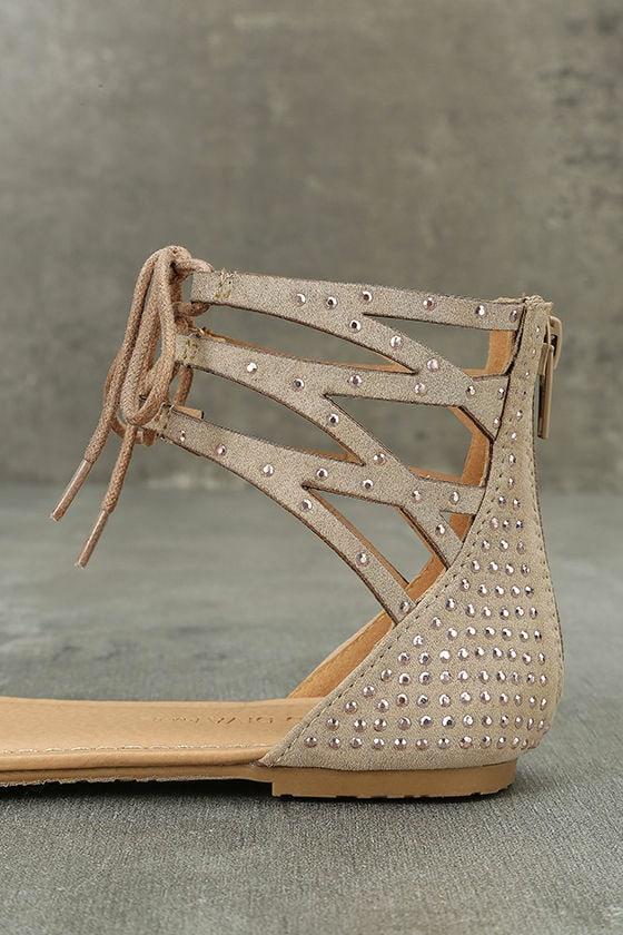 Clarinda Natural Rhinestone Lace-Up Sandals 7