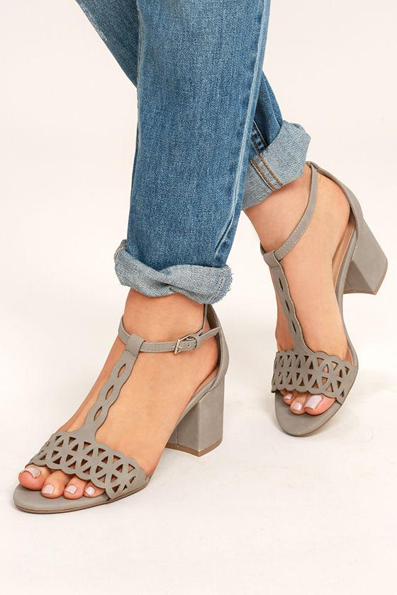 Janessa Stone Nubuck T-Strap Heels 1