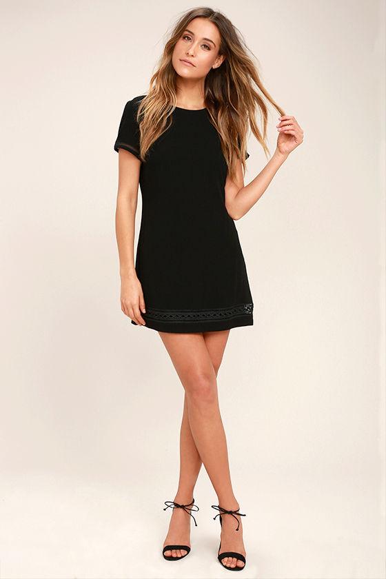 Lovely Black Dress - Shift Dress - Embroidered Dress - $49.00