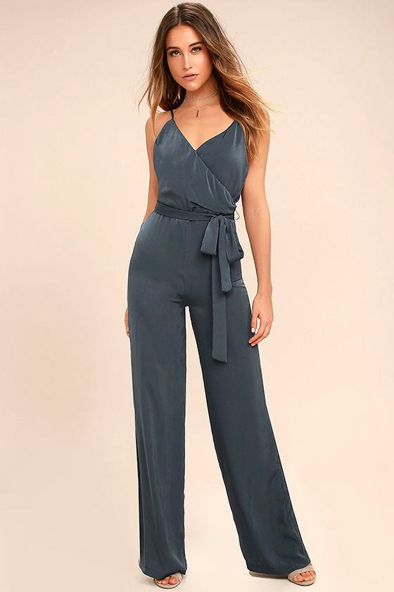 Lovely Navy Blue Jumpsuit - Satin Jumpsuit - Wide-Leg Jumpsuit ...