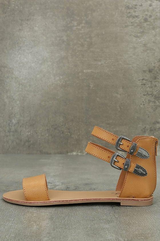 Dorinda Camel Burnished Ankle Strap Flat Sandals 1