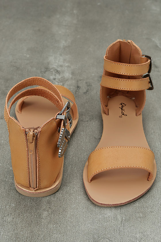 Dorinda Camel Burnished Ankle Strap Flat Sandals 3