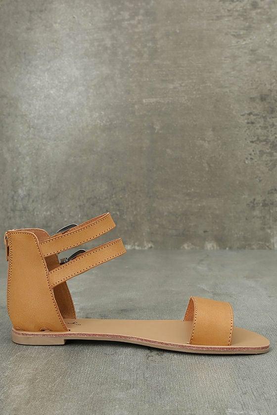 Dorinda Camel Burnished Ankle Strap Flat Sandals 4
