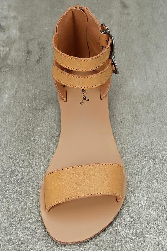 Dorinda Camel Burnished Ankle Strap Flat Sandals 5