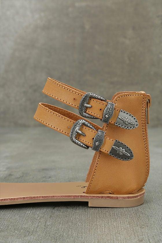 Dorinda Camel Burnished Ankle Strap Flat Sandals 7
