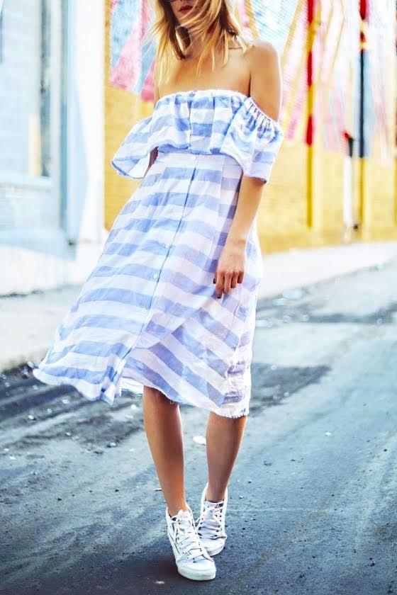 Transatlantic Voyage Blue and Ivory Striped Midi Dress 9