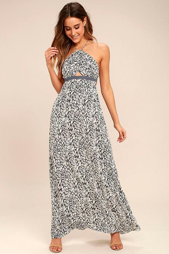705c6ffe7c2c Tavik Kenninton - Grey Print Dress - Halter Dress - Maxi Dress - Backless  Dress - $85.00