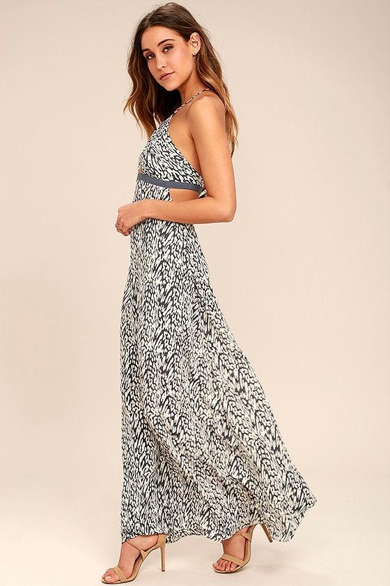 a86051da3453 Tavik Kenninton - Grey Print Dress - Halter Dress - Maxi Dress ...