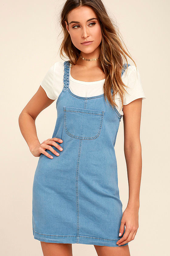 01a5f4a420b Cute Blue Dress - Denim Pinafore - Pinafore Dress - Overall Dress ...