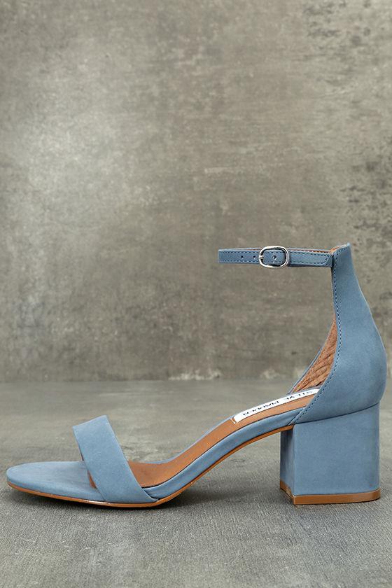 Steve Madden Irenee Light Blue Nubuck Leather Ankle Strap Heels 1