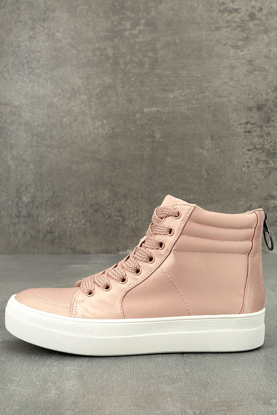 f40d8640587 Steve Madden Golly - Blush Satin Sneakers - High-Top Sneakers