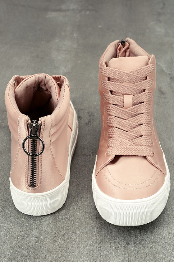 Steve Madden Golly Blush Satin High-Top Sneakers 3