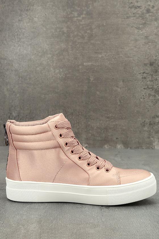 Steve Madden Golly Blush Satin High-Top Sneakers 4