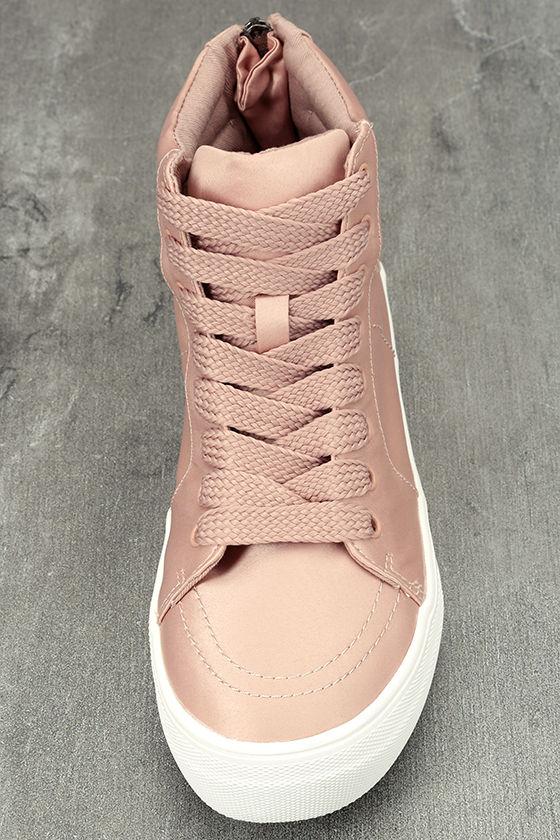 Steve Madden Golly Blush Satin High-Top Sneakers 5