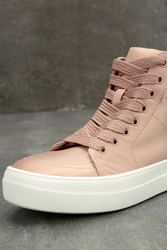 Steve Madden Golly Blush Satin High-Top Sneakers 6