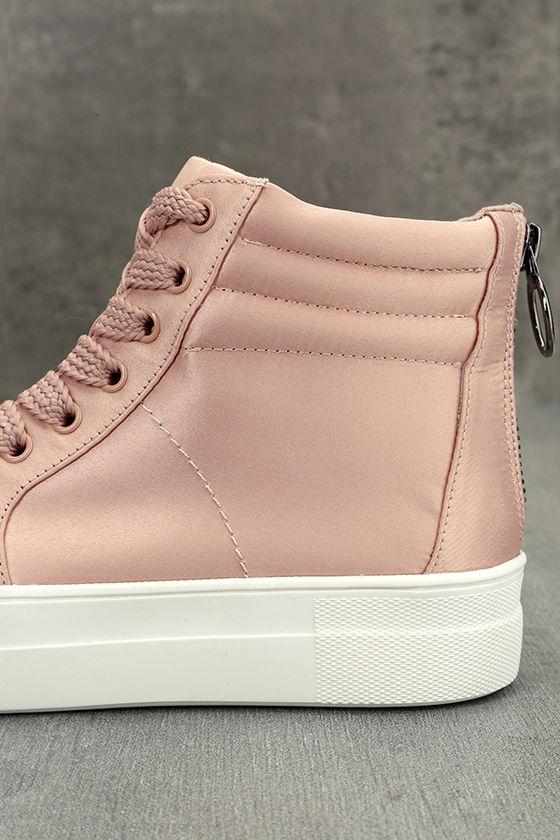 Steve Madden Golly Blush Satin High-Top Sneakers 7