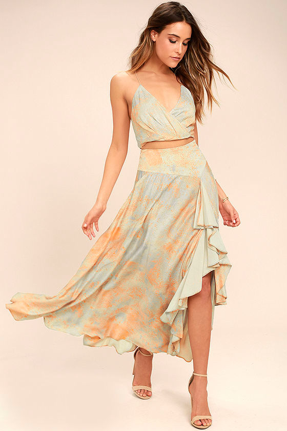 Free People Gardenia Blue and Orange Print Two-Piece Maxi Dress 1