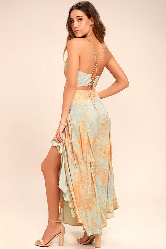 free people gardenia - blue and orange print dress - two-piece