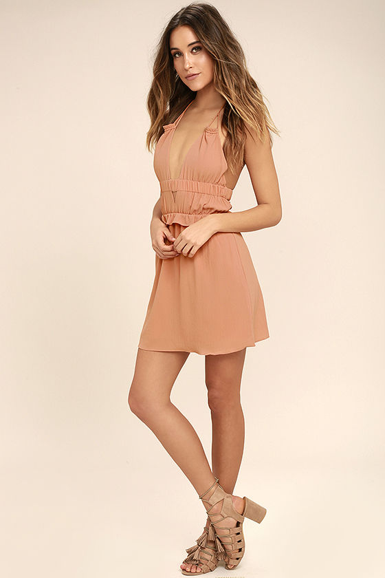 Tavik Rose - Blush Pink Dress - Halter Dress - Backless Dress - $80.00