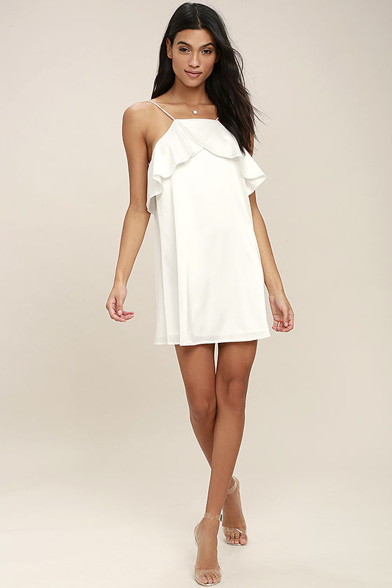 16940cc95a882 Sexy White Dress - White Satin Dress - Ruffled Dress - Shift Dress - $43.00