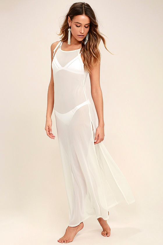 Cool Sheer White Cover-Up - Sheer Cover Up - Mesh Cover Up - Maxi ...