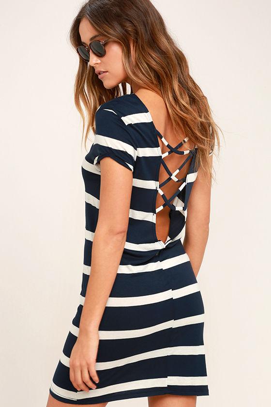 5756850906 Billabong Sunset View - Navy Blue Striped Dress - Shirt Dress - Shift Dress  -  39.95