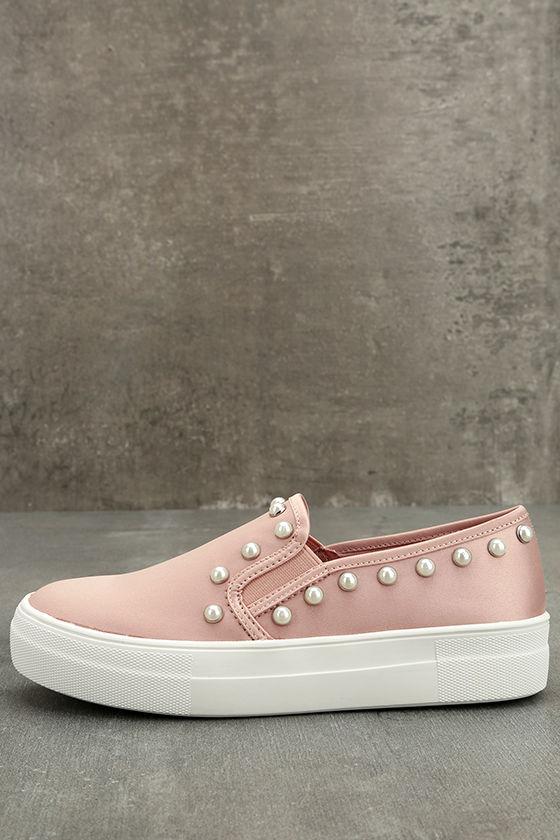 ab4233eb737 Steve Madden Glacier Sneakers - Blush Satin Sneakers - Slip-On ...