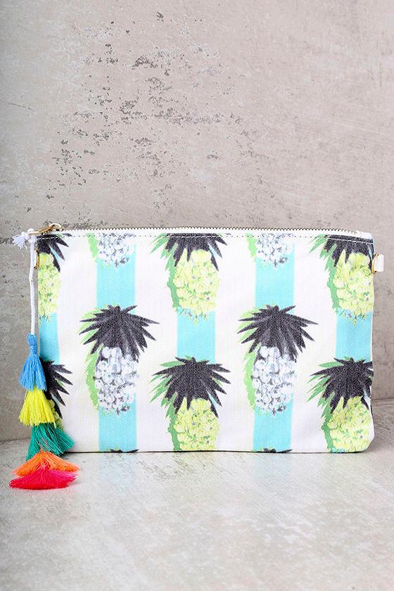 Colada Ivory Pineapple Print Clutch 2