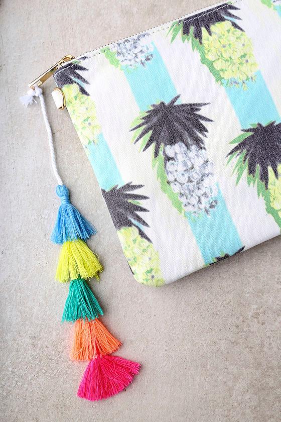 Colada Ivory Pineapple Print Clutch 3