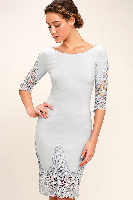 Midnight Garden Blue Grey Lace Bodycon Dress 1