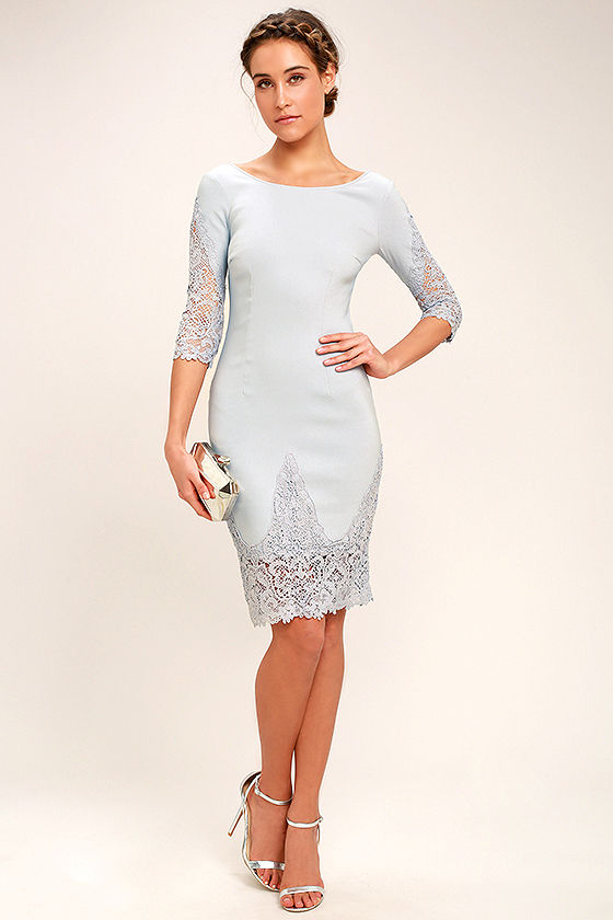 Midnight Garden Blue Grey Lace Bodycon Dress 2