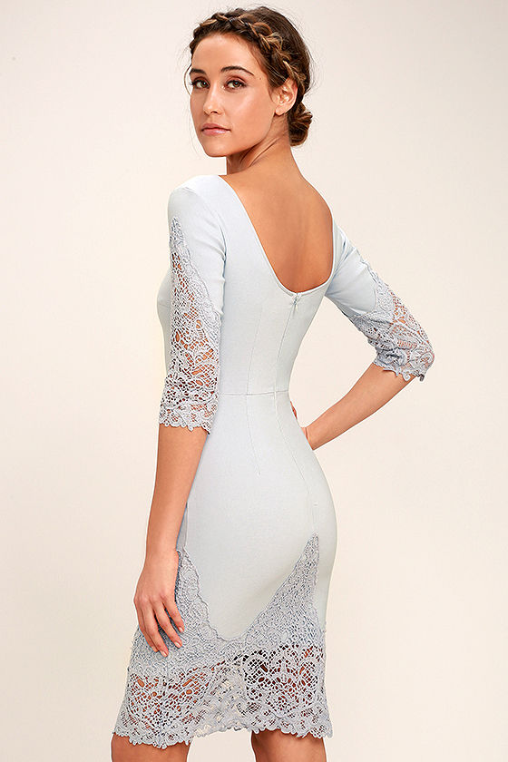Midnight Garden Blue Grey Lace Bodycon Dress 3