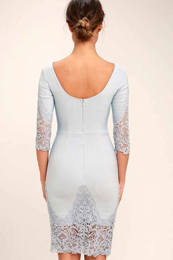 Midnight Garden Blue Grey Lace Bodycon Dress 4