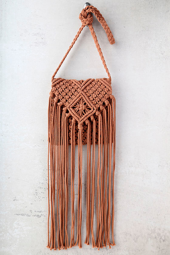 Mahala Terra Cotta Crochet Fringe Purse 2