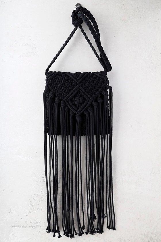 Mahala Black Crochet Fringe Purse 2