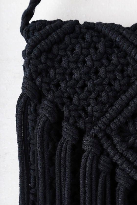 Mahala Black Crochet Fringe Purse 3