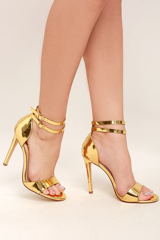 7a2877b1567 Lovely Gold Heels - Gold Ankle Strap Heels - Gold Patent Heels -  32.00