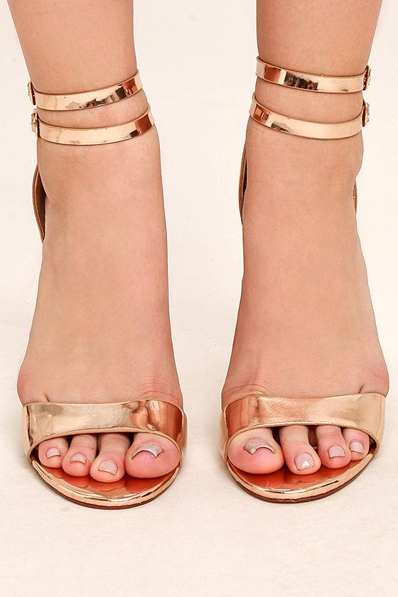 Jacinda Rose Gold Ankle Strap Heels 2