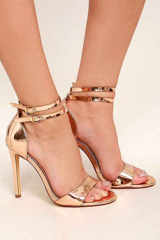 Lovely Rose Gold Heels - Rose Gold Ankle Strap Heels - Rose Gold ...