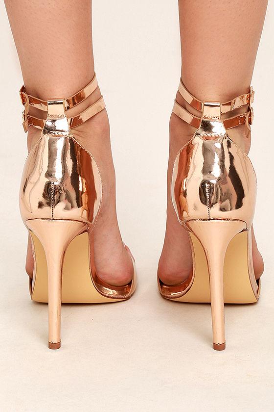 Jacinda Rose Gold Ankle Strap Heels 4