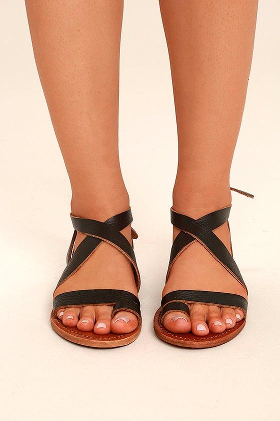 Sbicca Teegan Dark Brown Leather Flat Sandals 2