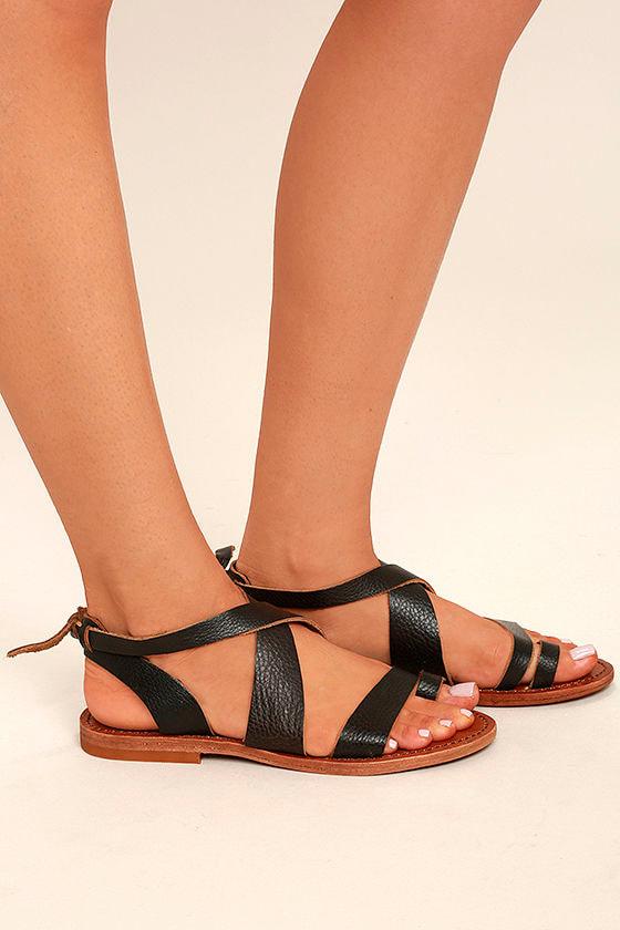 Sbicca Teegan Dark Brown Leather Flat Sandals 3