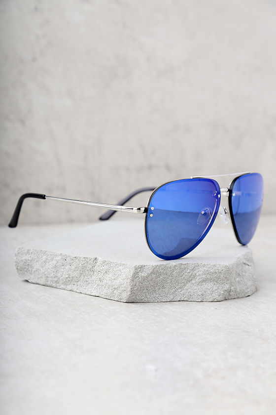 Style Radar Blue Mirrored Aviator Sunglasses 4