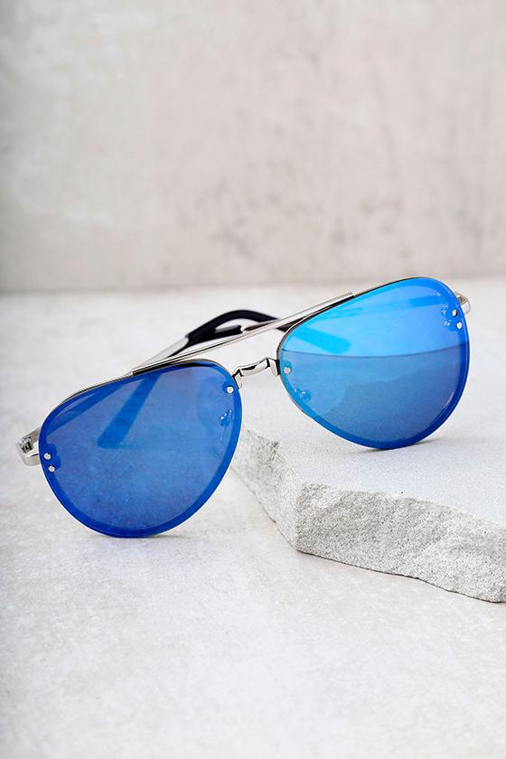 Style Radar Blue Mirrored Aviator Sunglasses 3