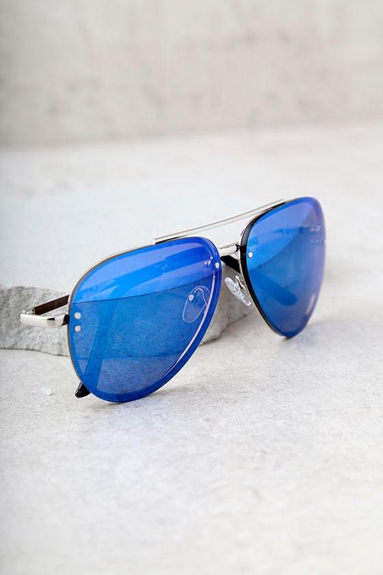Style Radar Blue Mirrored Aviator Sunglasses 5