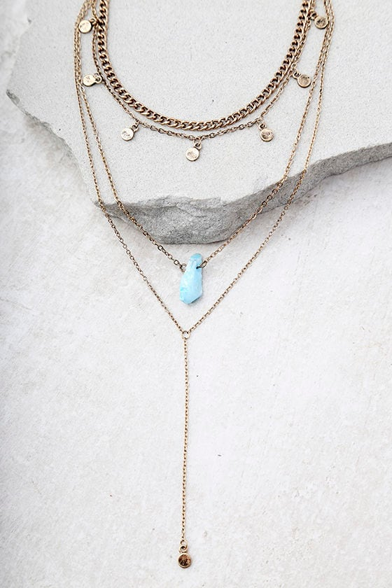 Nova Blue and Gold Layered Necklace 2