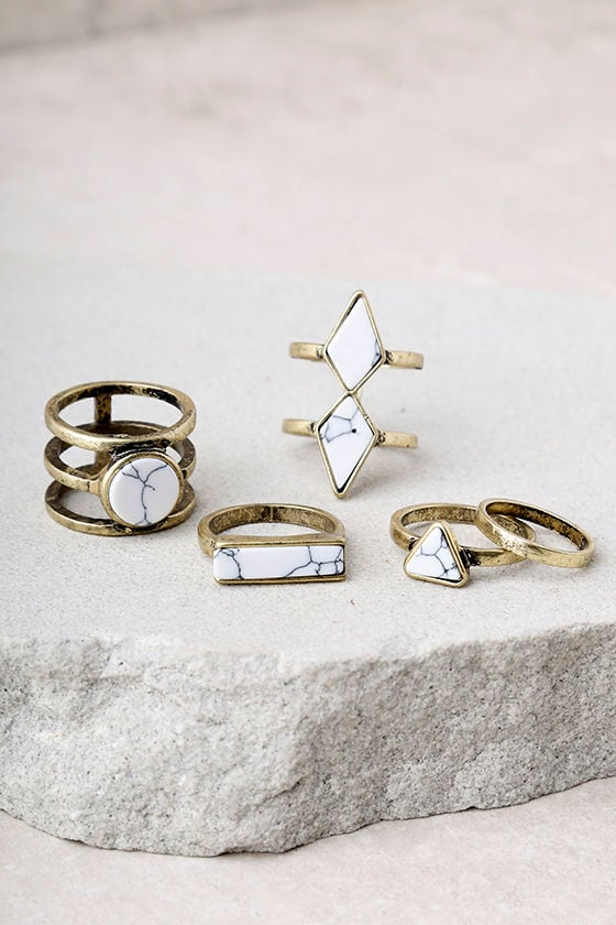 Trend Topper White and Gold Ring Set 2