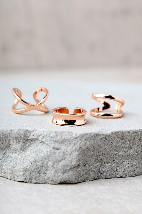Winning Hearts Rose Gold Ring Set 2
