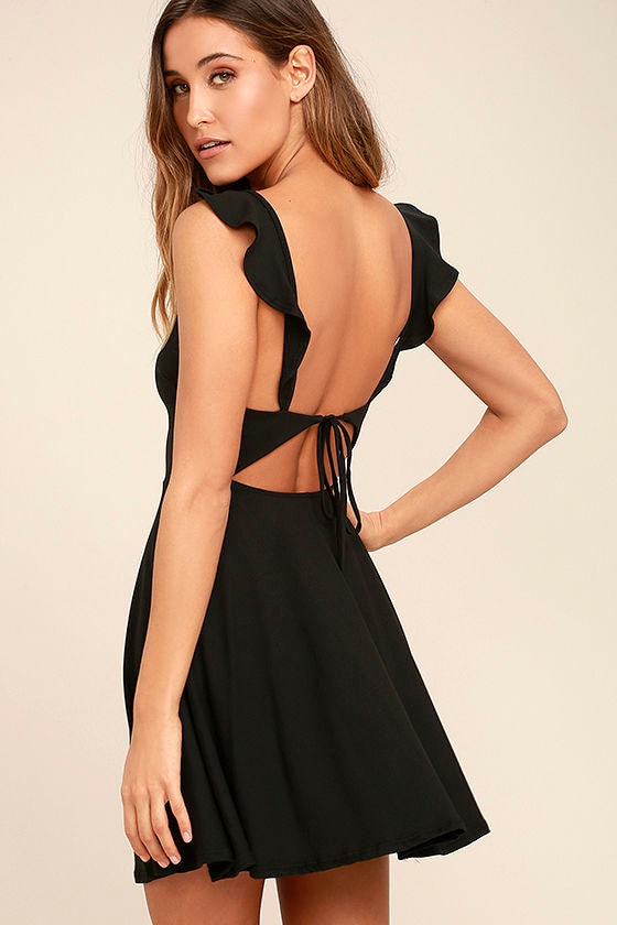Cute Black Dress - Backless Dress - Skater Dress - Fit-and-Flare ...
